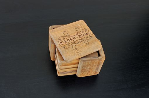 Custom Made Custom Bamboo Coasters, Custom Engraved Coasters --Cst-Bam-Heather Shawn
