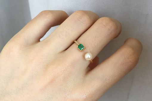 Custom Made 0.25 Carat Emerald Engagement Ring With Pearl