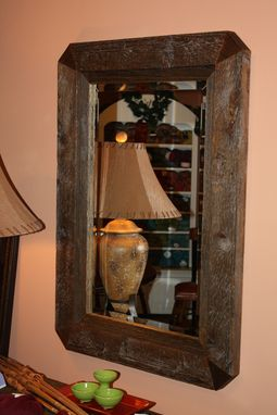 Custom Made Accent Repurposed Lumber Beveled Mirror