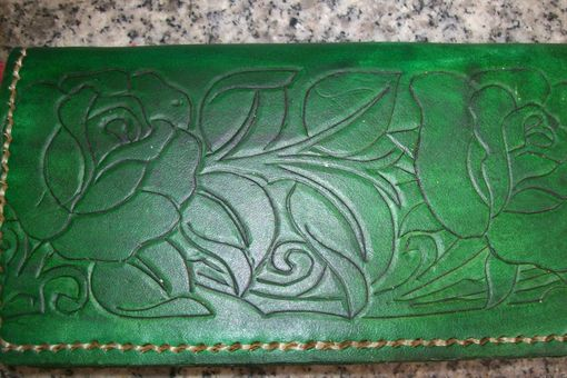 Custom Made Custom Leather Checkbook Cover With Rose Design In Emerald Green