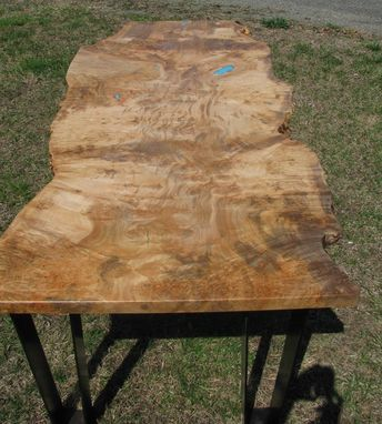 Custom Made Live Edge Silver Maple Burl Desk