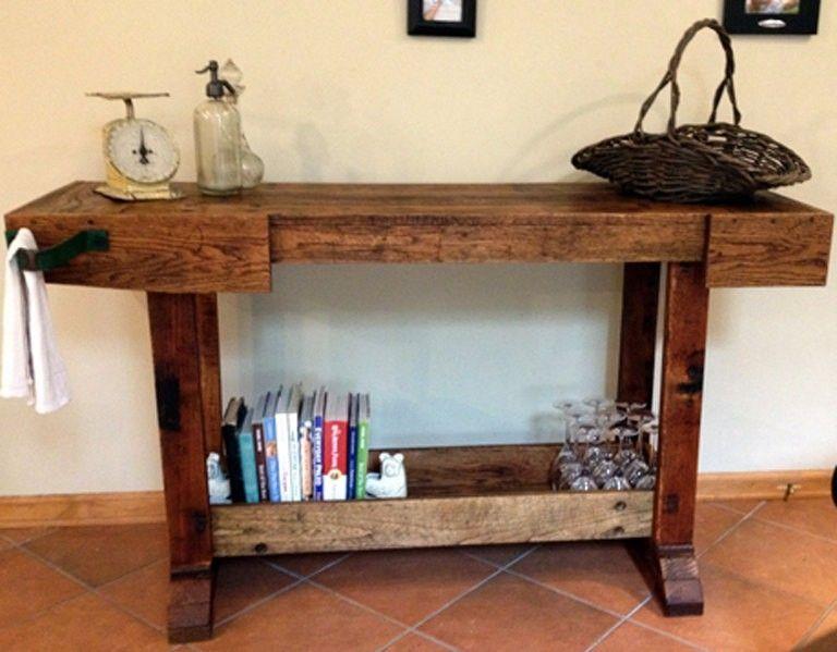 Custom Made Reclaimed Oak Bar Table