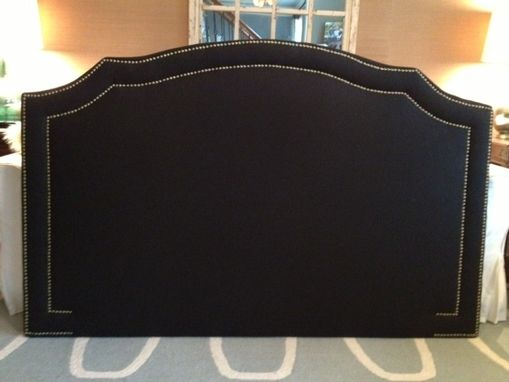 Custom Made Notched Upholstered Headboard, Navy Linen, Antiue Brass Nailhead