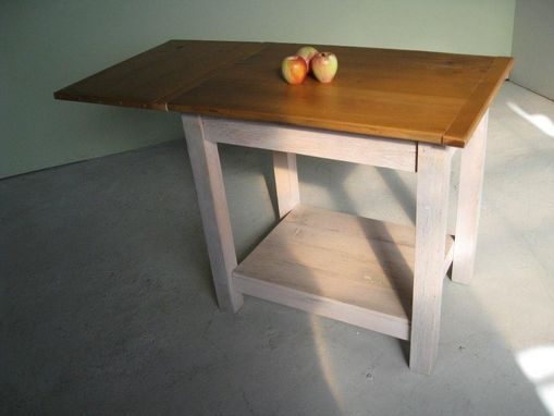 Custom Made White Country Style Kitchen Island With Open Base, From Old Pine
