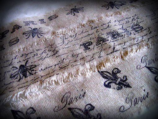 Custom Made French Inspired Paris Hand Stamped Trim Linen - Set Of 3