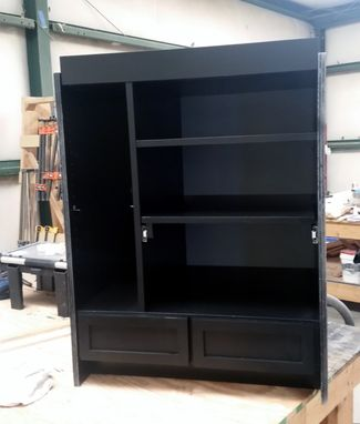 Custom Made Black Lacquer Built In Media Unit With Led Lighting