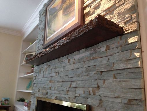 Hand Crafted Live Edge Slab Fireplace Mantle By Mad Custom Wood Working Custommade Com