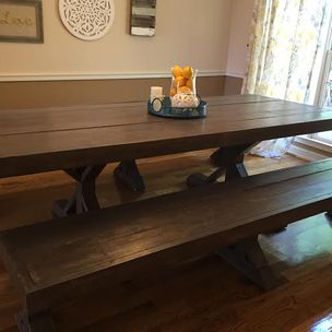 Handmade Solid Wood Dining Table With Star Shaped Base And Matching Benches By