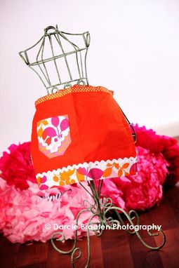 "Custom Made Orange, Pink, And White Doll Apron With Swirls ""Orange Sherbet''"