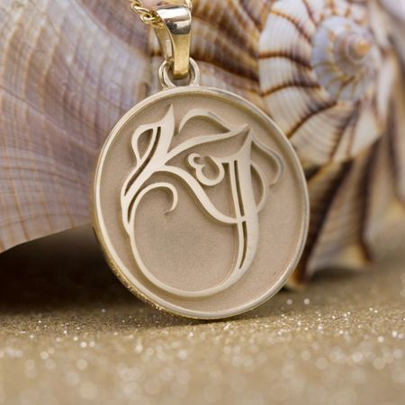 Custom pendants design your own pendant custommade jims pendant we worked with jim to spotlight the elegant couples monogram design from their wedding on this sleek gold pendant mozeypictures Image collections