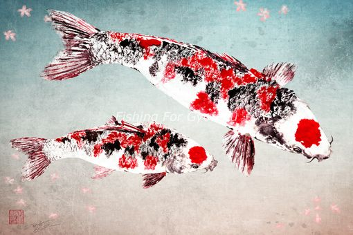 Custom Made Japanese Sakura Koi - Gyotaku Giclee Print - Traditional Japanese Fish Art