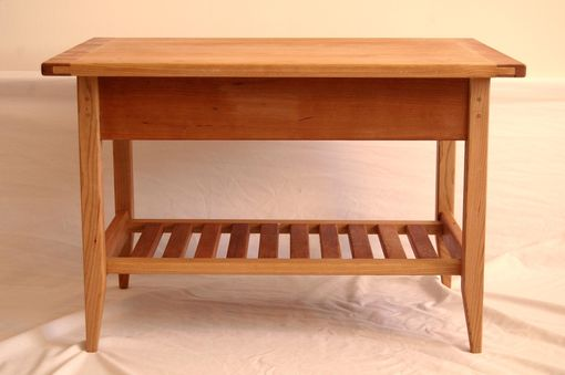 Custom Made Cherry Shaker Style Coffee Table With Drawer And Shelf