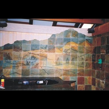 Custom Made Carved Slate Bathroom Mural