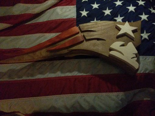 Custom Made Wood New England Patriot Logo Art