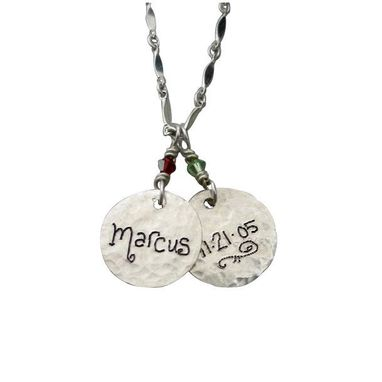 Custom Made Engraved Name Charm Necklace Sterling Silver