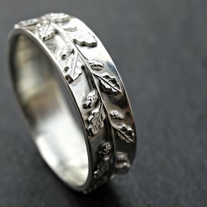 medieval wedding ring silver fairy tale wedding band pagan oak leaf ring silver by - Leaf Wedding Ring