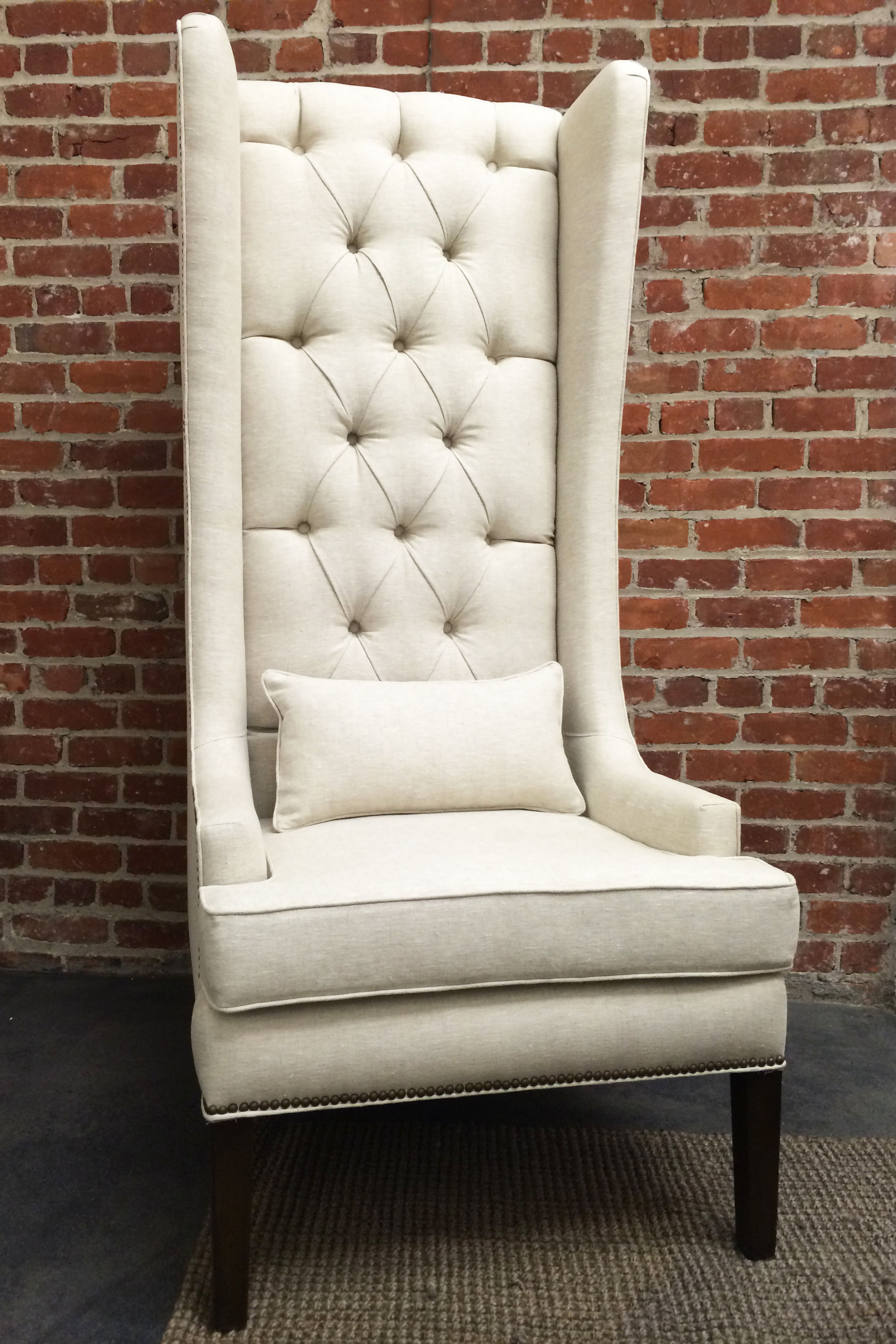 Handmade Attilio Tufted Linen Wingback Chair by Hammers And Heels