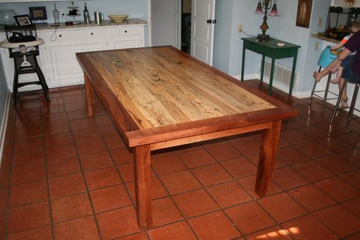 Custom Made Spalted Pecan Table With Mesquite Frame And Legs
