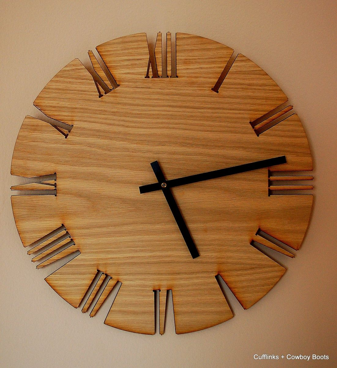 Hand Crafted Home Wall Decor Wall Clock Roman White Oak