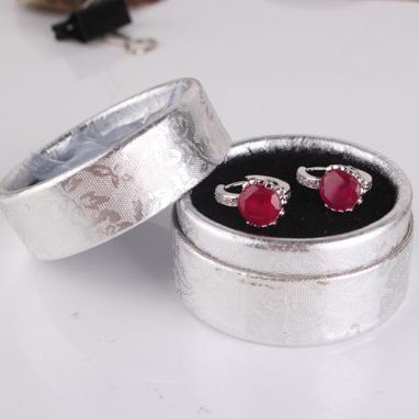 Custom Made Luxury 18k White Gold Filled Hoop Wedding&Party Eternity Ruby Earring