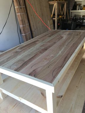 Custom Made 2'X4' Coffee Table With Reclaimed Tongue And Groove Flooring