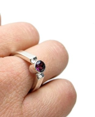 Custom Made 14kt White Gold And Garnet Ring - Solitaire Ring - Single Gem Elegant Teardrop Gold Ring