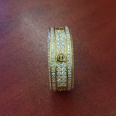 Custom Made 14k Yellow Gold Diamond Cartier Inspired Ring Love Eternity Band