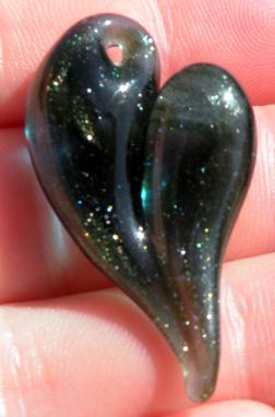 Custom Made Sparkling Blue And Green Glass Heart Pendant