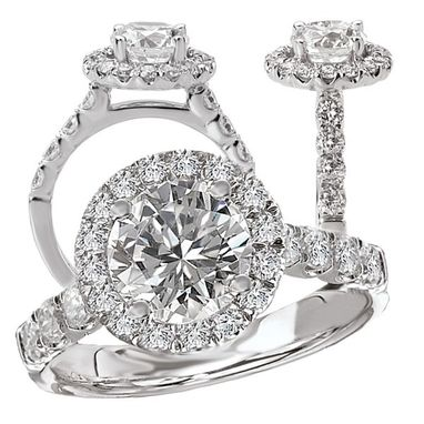 Custom Made 18k White Gold Natural Diamond Engagement Ring Semi-Mount