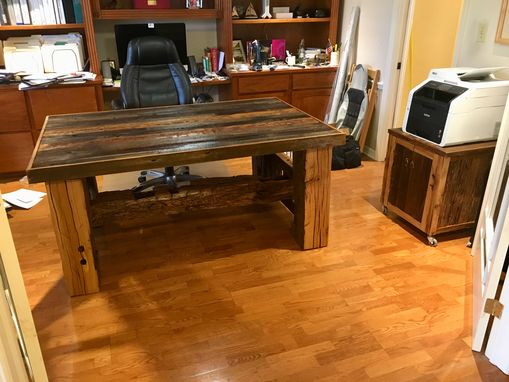 Custom Made Barn Beam Desk With Matching Printer Stand