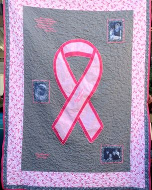 Custom Made Custom Breast Cancer Awareness Ribbon Photo Memory Quilt With Embroidered Quotes
