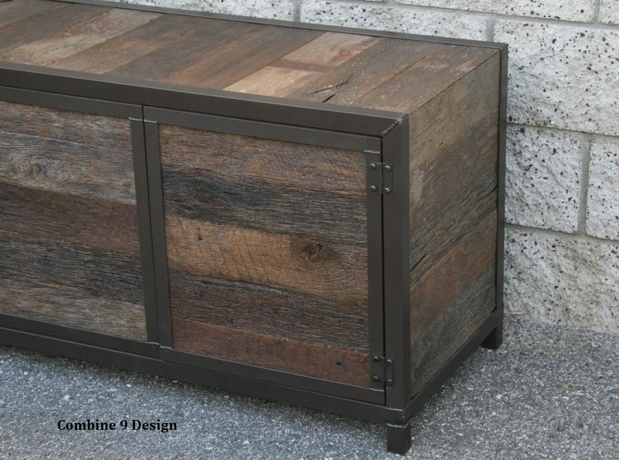buy a custom handmade rustic media console credenza reclaimed wood made to order from combine. Black Bedroom Furniture Sets. Home Design Ideas