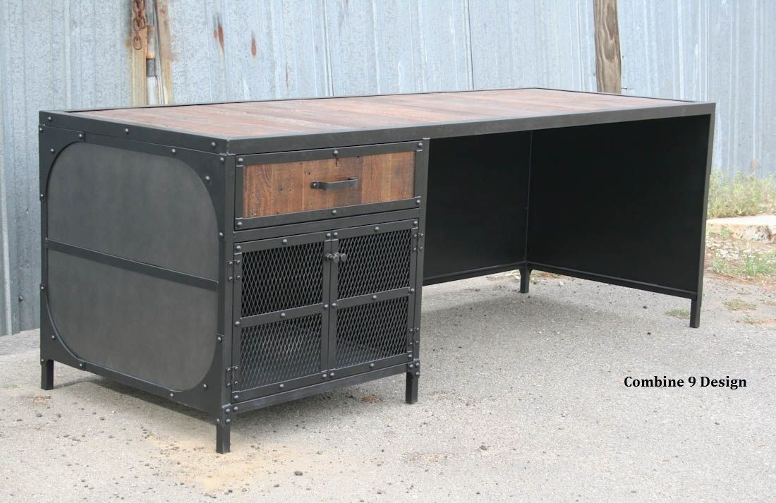 A Hand Crafted Vintage Desk W Return Reclaimed Wood Steel Urban Modern Made To Order From Combine 9 Custommade Com
