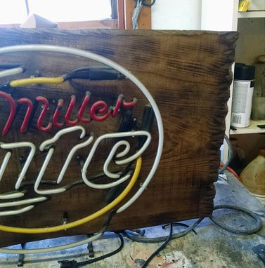 Custom Made Miller Light Beer Sign One Of A Kind On Cypress Wood!