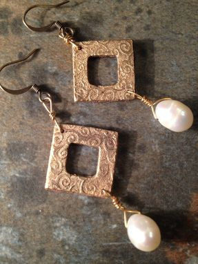 Custom Made Square Bronze And Pearl Earrings