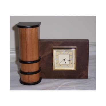 Custom Made Mahogany And Walnut Art Deco Clock