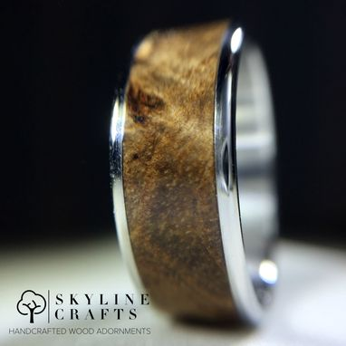 Custom Made Black Ash Burl Wood Ring. Handcrafted Wood Burl Ring On Your Choice Of Titanium Or 316 Stainless