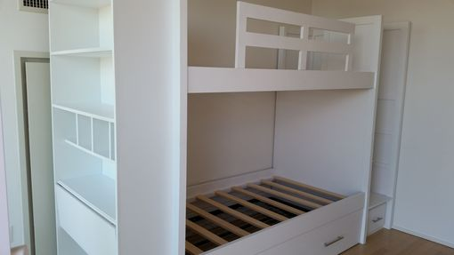 Custom Made Twin Over Twin Bunk Bed With Pop-Up Trundle, Stairs And Desk