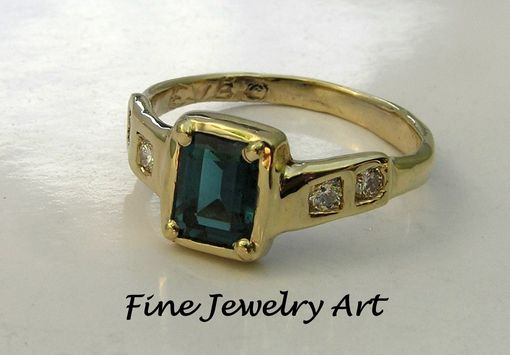 Custom Made Rare Gemstone Ring - Indicolite Blue Tourmaline Ring & Diamonds Unique Handmade Design 14k Gold