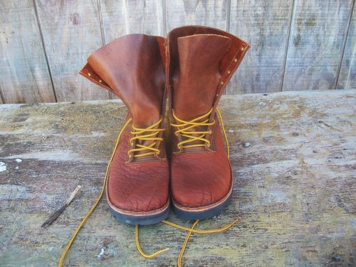 Custom Made Front Lace Buffalo Hide Leather Work Boots