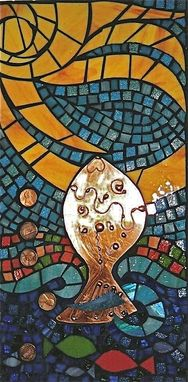 Custom Made Art Glass Mosaic Wall Hanging - If A Fish Could Make A Wish