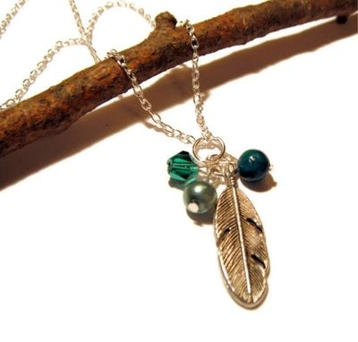 Custom Made Silver Feather Necklace With Pearl, Jasper, & Crystal