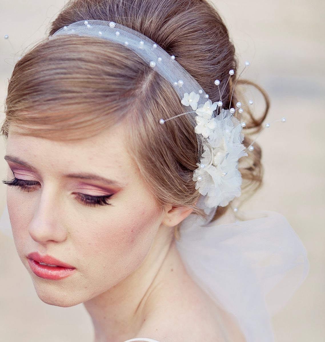 hand crafted wedding veil, tie headband of net and vintage flowers