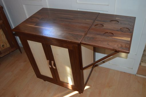 Custom Made Walnut And Maple Bar With Drawer, Adjustable Shelves, And Fold Out Side Table