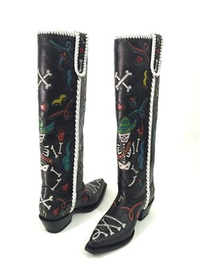 Custom Made Dia De Muertos Hand Tooled Cowboy Boots Hand Painted And Hand Made To Your Foot And Calf Size
