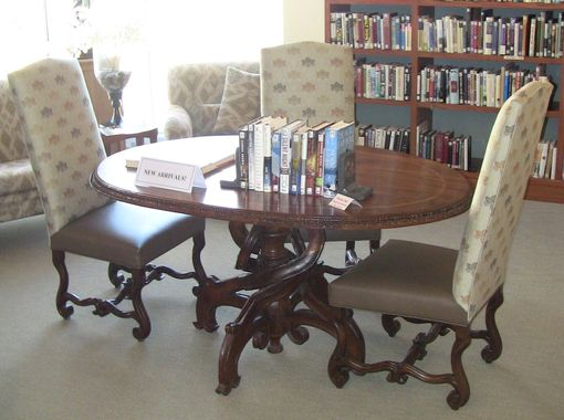 Custom Made Cc Young Retirement Community - Dallas, Texas - Made For Nancy Hunt - 2 Custom Hand Carved Cross Table In Hand Wax Finish - Oval Twist Leg Table In Walnut With Oak Lnlay - In Library