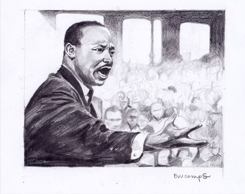 "Custom Made Mlkjr's Lincoln Memorial Address--18"" X 14"" Mixed Media Illustration"