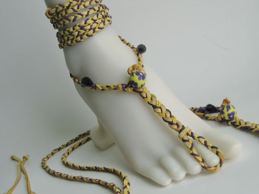 Custom Made Buckskin Deerskin Hand Braided Slave Anklets. Barefoot Sandals. Dancer. Boho. Foot Jewelry.