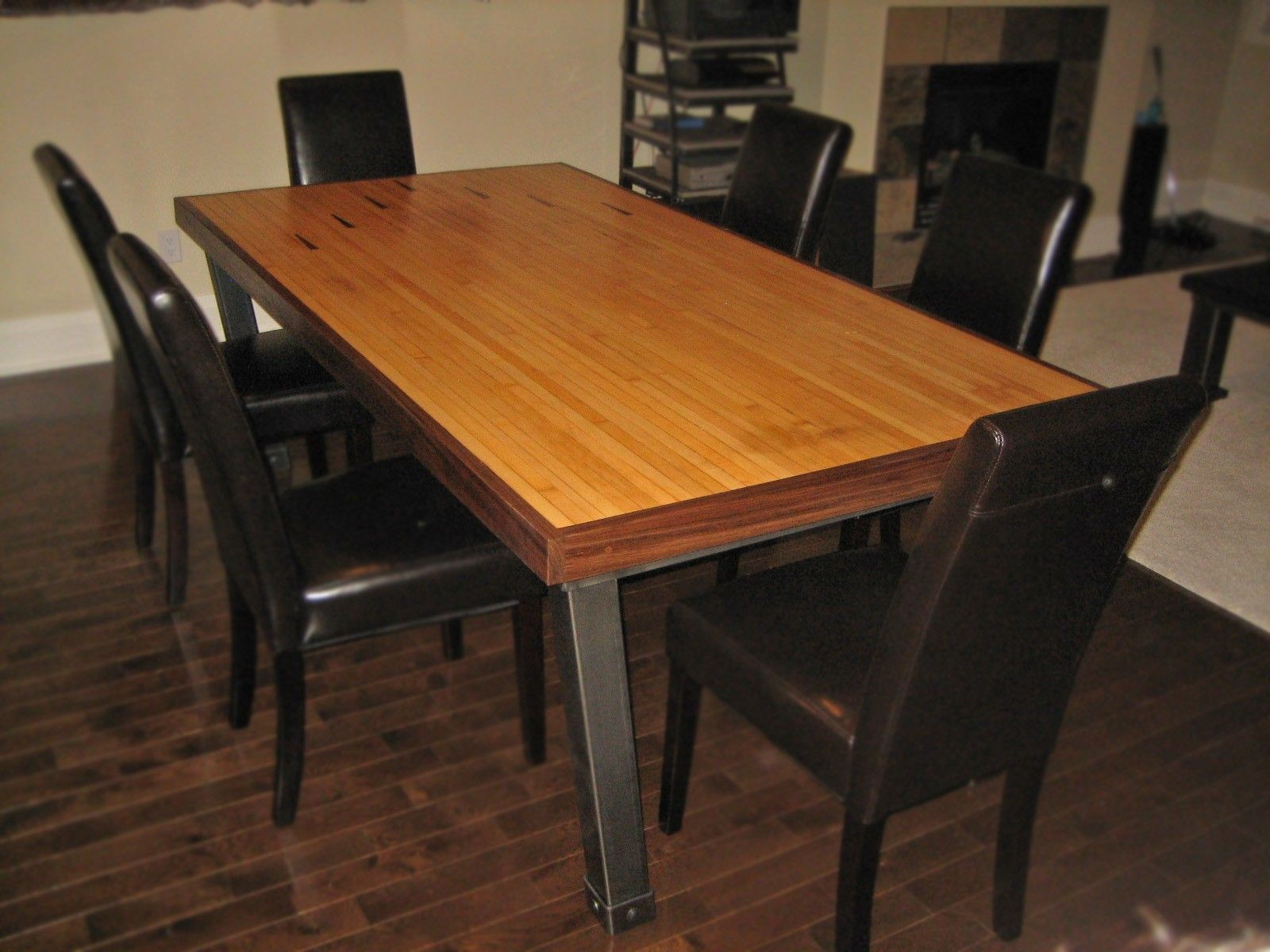 Hand Made Dining Table Iron Reclaimed Bowling Lane By Desiron Custom Metal