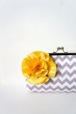 Custom Made Gray Clutch Purse With Flower Accent